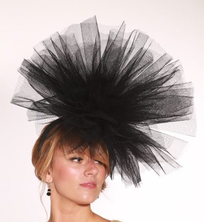 Taupe Nude Fascinator hat /&royal blue highlight//choose any colour feathers//satin