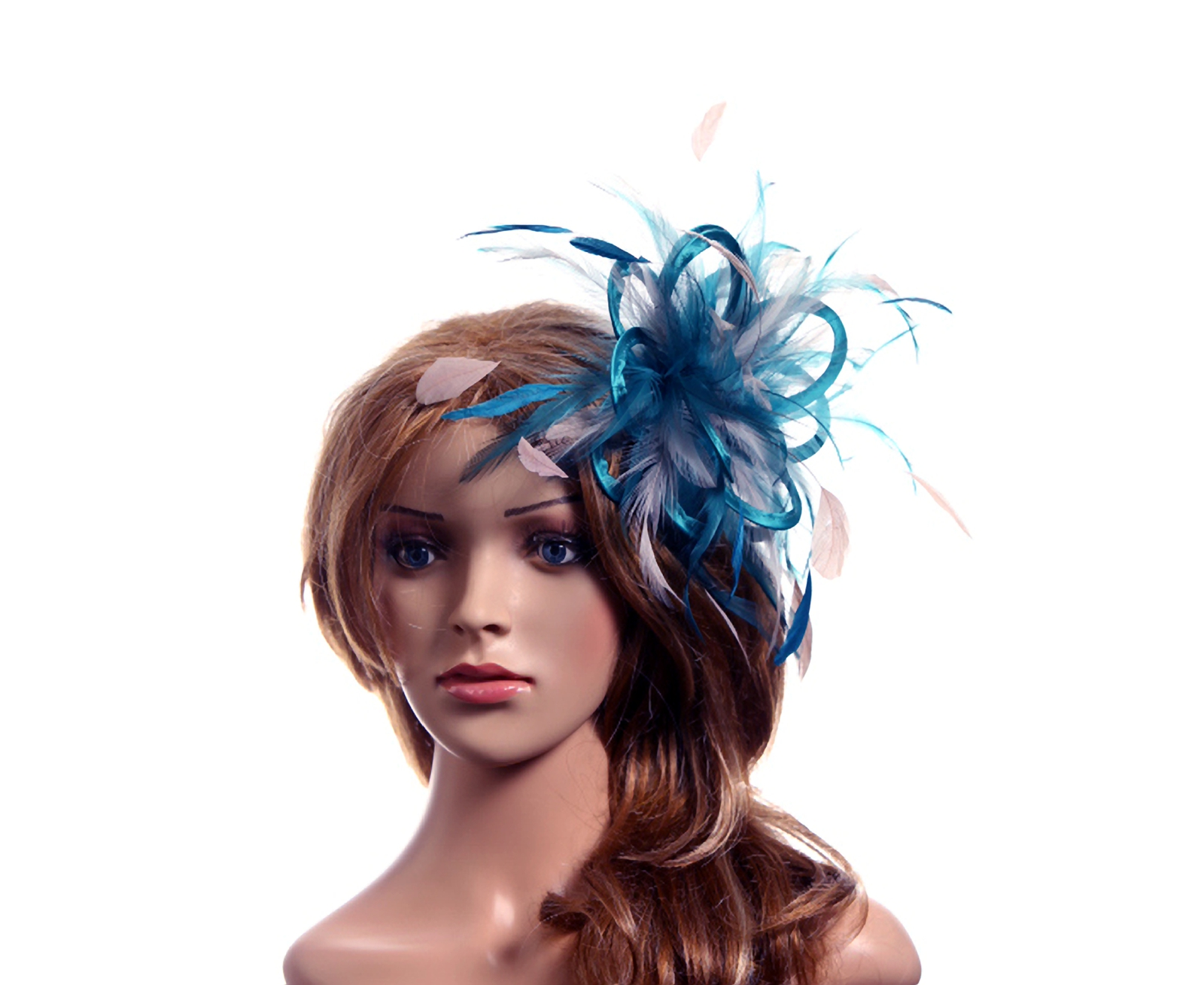 Taupe Nude Fascinator hat /& navy highlight//choose any colour feathers//satin