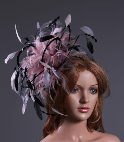 Black,Pewter and Silver Grey, Baby Pink Fascinator Hat Headband handmade and available in over 30 colours