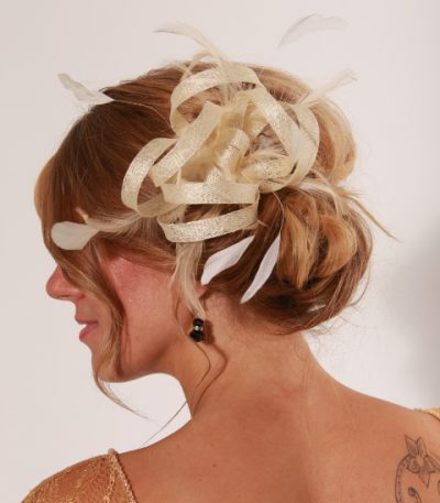 Cream small sinamay and feather fascinator hat