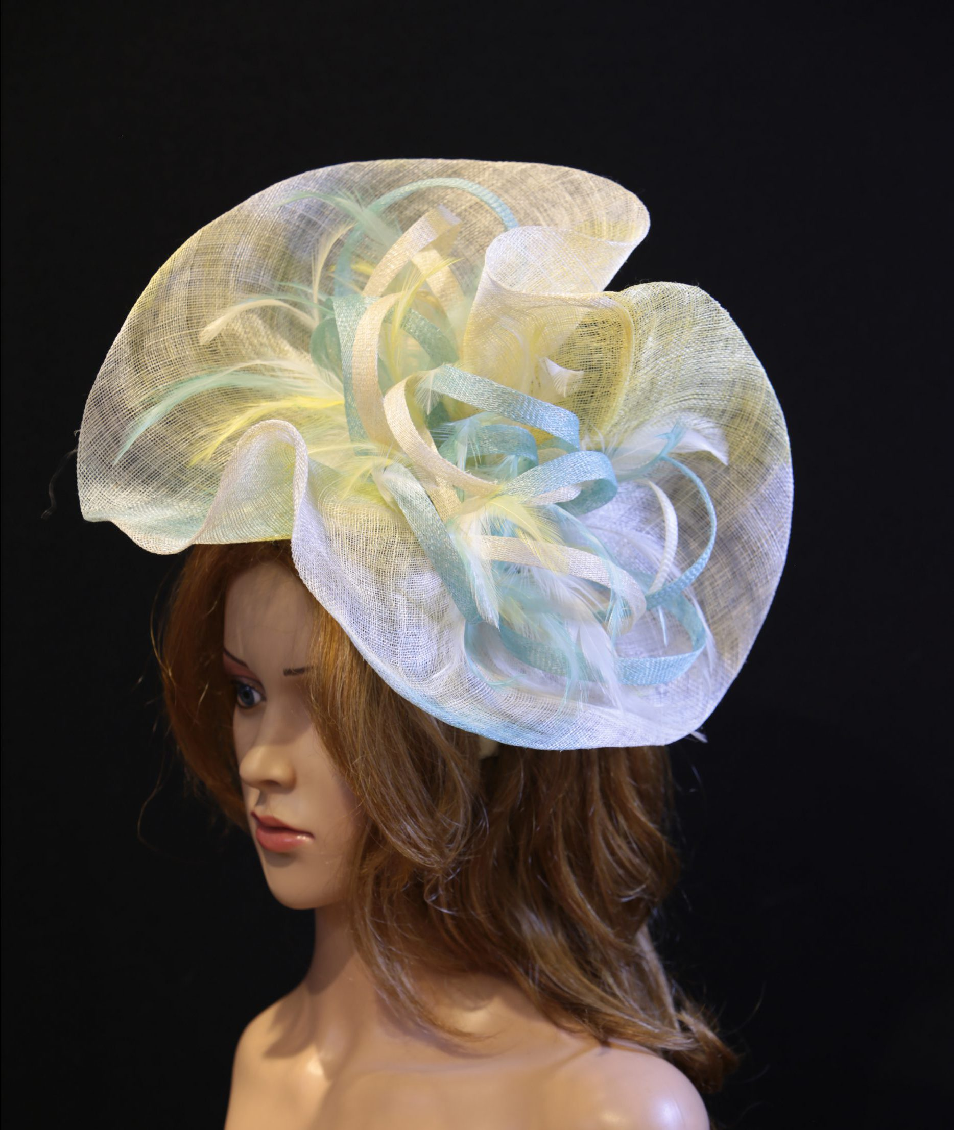 Ivory Aqua And Lemon Yellow Feather Saucer Fascinator Hatinator Hat Maighread Stuart Millinery