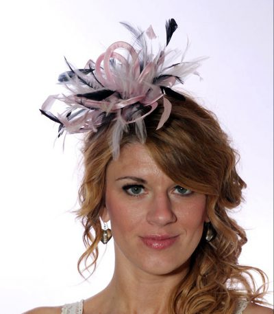 baby pink and navy blue small fascinator feather hat