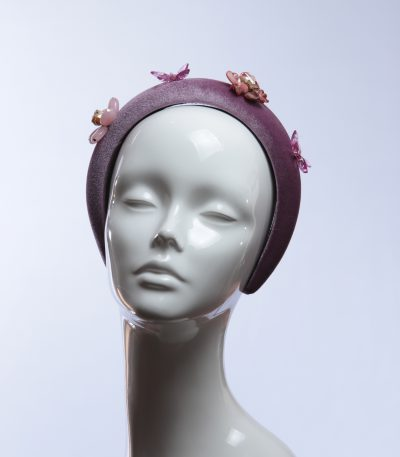 lilac dusky padded velvet headband flower beads