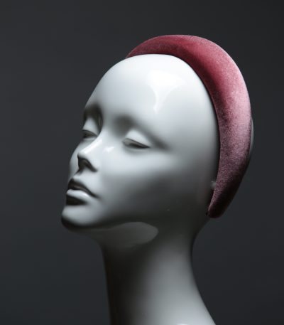 Dusky Pink Padded Velvet Headband Wedding Fascinator hat