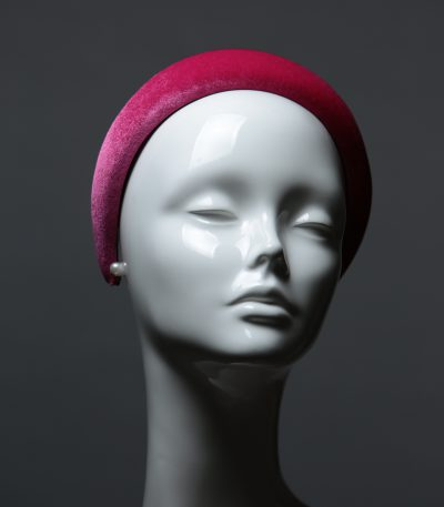 Hot Pink Padded Velvet Headband Wedding Fascinator hat