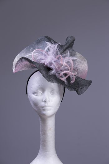 pewter grey baby pink sinimay and loops on headband suitable for a ladies day at the races or wedding