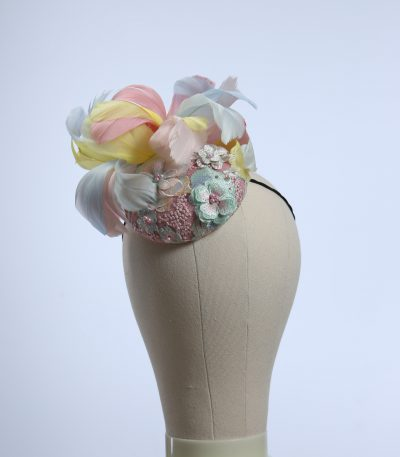 3d lace sinimay button block with rainbow pastel feathers fascinator pillbox hat