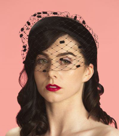 black padded headband spot veil